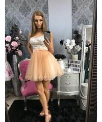 166b567a8609 PrestigeShop Elegantné korzetové šaty s týlovou sukňou - marhuľovo biele