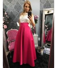 dab11c2361fb PrestigeShop Maxi dlhá saténová spoločenská sukňa - cyklamenová ružová