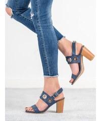 42c08955695b Modré Dámske sandále na podpätku