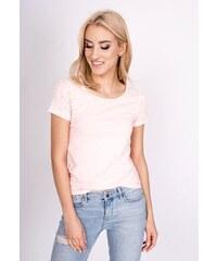 98c1c2627a90 Rouzit Ružové tričko zdobené perlami