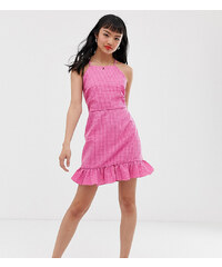 55d5062864 Glamorous Petite square neck cami dress with ruffle hem in mini gingham -  Pink gingham