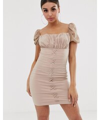 1e1f86a1ca82 NaaNaa ruched mini dress with lace up front - Light camel