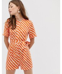 b28b8ce77a Mango tie waist playsuit in orange stripe - Orange