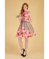 18fc91abe541 Světle hnědé šaty s velkými růžovými růžemi Lady V London Tea