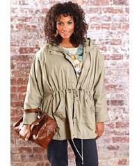 Dámská bunda také v nadměrné velikosti, bunda ve stylu ponča SHEEGO 44/46 režná (ecru)