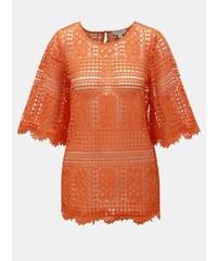 bc603e7c981b Oranžový čipkovaný top Miss Selfridge