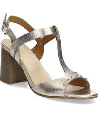 e297e942d55a Bata Zlaté kožené sandále na stabilnom podpätku