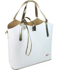 d34dfd038d Biela moderná dámska kabelka so zlatými doplnkami S749 GROSSO