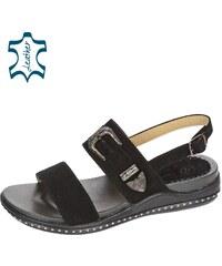 db164b7086f0 OLIVIA SHOES Čierne nízke pohodlné dámske sandále s ozdobou DSA2084
