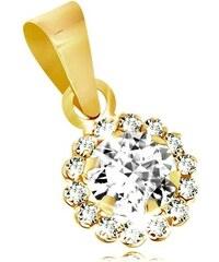 9819fe2a8 Šperky eshop - Prívesok zo žltého 9K zlata - číry trblietavý zirkónový  kvietok GG40.36