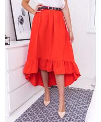 d6a642d6b491 www.glashgirl.sk Červená asymetrická sukňa ukončená volánom