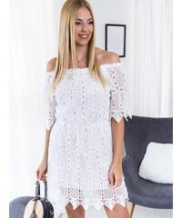 12764e69bbd3 www.glashgirl.sk Biele krátke šaty s dierkovaným vzorom Brielle