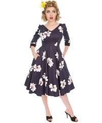 ec7787b3e925 Dedoles Retro pin up šaty s rukávom Biele kvety S