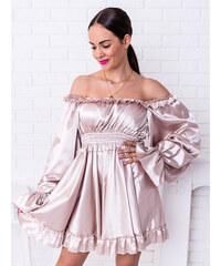 432e063eea74 www.glashgirl.sk Béžové krátke saténové šaty cez ramená Crystall