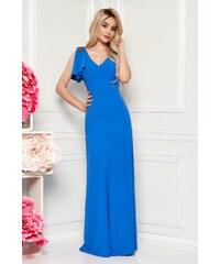 031b9eb801 StarShinerS Kék alkalmi hosszú ruha finom tapintású anyag belső béléssel  gyöngyös díszítéssel