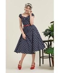 120dcb704772 COLLECTIF Dámské retro šaty Dolores modré s puntíky