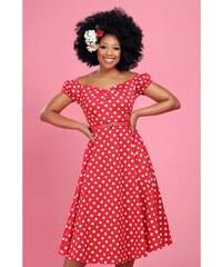501b8c44785e COLLECTIF Dámské retro šaty Dolores červené s puntíky