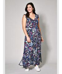 c72f40ee3f BLUE VANILLA Jessika-modré maxi šaty v štýle kimona potlačené ...