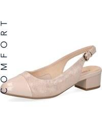 a6a4b61f5be0 Dámske uzatvorené sandále na nízkom podpätku značky Caprice farba ružová
