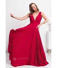3c12bc62475b Mia Dresses Červené spoločenské šaty s plisovanou sukňou