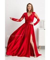 58bba2d09c7d Mia Dresses Červené spoločenské šaty s krajkou a saténovou sukňou
