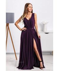 9165de7ca3e8 Mia Dresses Fialové spoločenské šaty s rozparkom