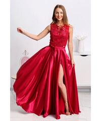 01c57534ad19 Mia Dresses Tmavočervené spoločenské šaty so saténovou sukňou a rozparkom