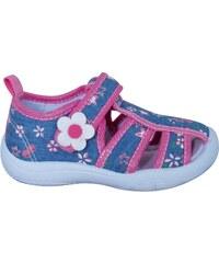 e62fc16477 Protetika Dievčenské papučky s kvetinou - modro-ružové