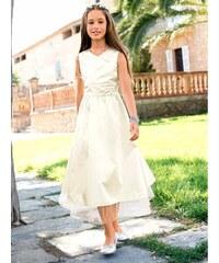 Dětské saténové šaty, CFL 134 režná (ecru)