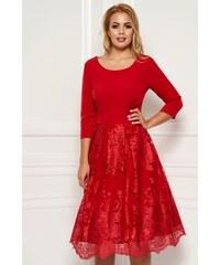 652e10ca40 StarShinerS Piros elegáns midi harang ruha enyhén rugalmas anyag csipkés  átfedés