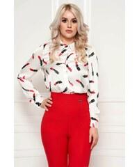 ae6702b0b9 Fehér StarShinerS elegáns bő szabású női ing szatén anyagból grafikai  díszítéssel