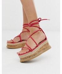 31250258f8571 Truffle Collection tie leg flatform sandals in fuschia - Fuchsia nubuck