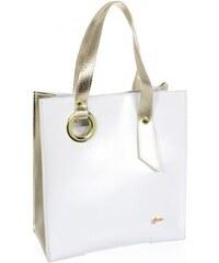 464ba10a88 Bielo-zlatá moderná obdĺžniková dámska kabelka S752 GROSSO