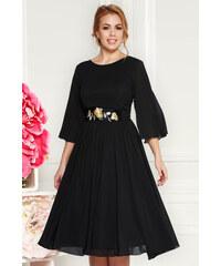 22efb9e138 Fekete StarShinerS alkalmi harang ruha fátyol anyagból belső béléssel övvel  ellátva hímzett betétekkel