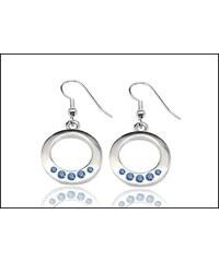 Kruhové modré náušnice s kamínky
