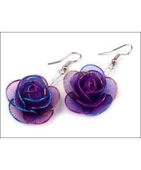 Romantické purpurové náušnice Růže