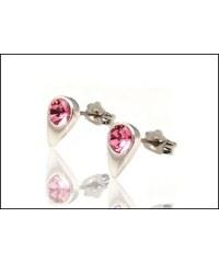 Malé růžové náušnice ve tvaru kapky