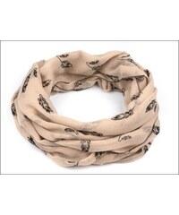 Neobyčejný béžový šátek s motivem peříček