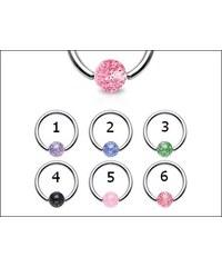 Piercing kroužek s glitrovou kuličkou - různé barvy