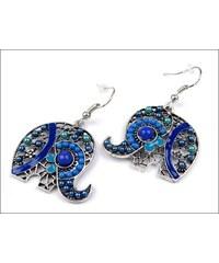 Náušnice se slonem a modrými korálky