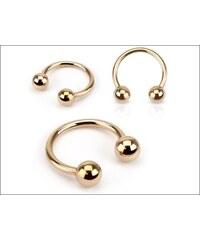 Piercing zlatá podkova s kuličkami
