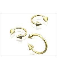 Piercing zlatá podkova s hroty