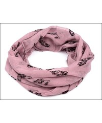 Neobyčejný lila šátek s motivem peříček