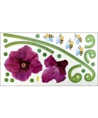 Nálepka na zeď - Květy s včeličkami