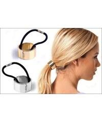 Gumička do vlasů se zlatou kovovou sponou