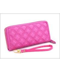 Hladká růžová peněženka s prošíváním