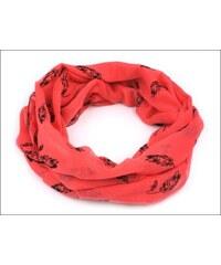Neobyčejný červený šátek s motivem peříček