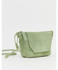 eecfed6e84 ASOS DESIGN suede angled flap cross body bag - Mint