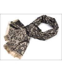 Výjimečná černá pashmina s leopardím vzorem