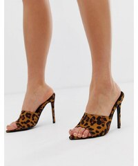 7f26e6b5c7 Missguided leopard print peep toe mules - Leopard